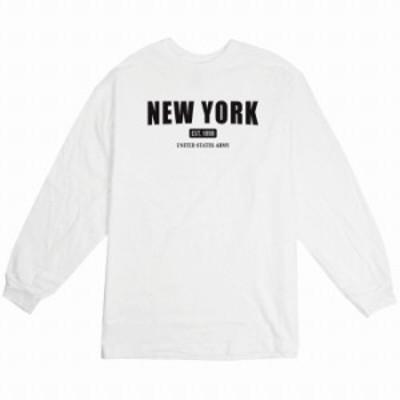 ロングTシャツ ホワイト 大人 ユニセックス メンズ レディース ビッグシルエット 長袖 ロンT カジュアル シンプル ニューヨーク ロゴ か