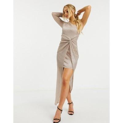 リプシー レディース ワンピース トップス Lipsy one shoulder metallic maxi dress in gold Pink