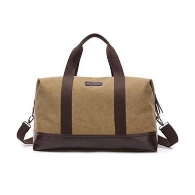 Unisex Canvas Travel Tote Weekender Overnight Bag Leather Duffel Carry on Bag (Khaki)【並行輸入品】