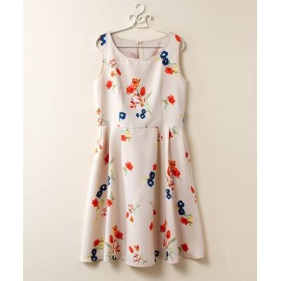 【大きいサイズ】 クラシカル花柄プリントノースリーブワンピース ワンピース, plus size dress