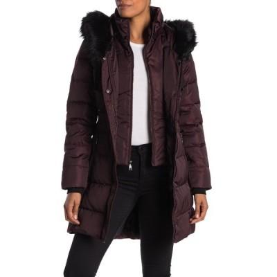 タハリ レディース ジャケット&ブルゾン アウター Stefani Faux Fur Trim Down Puffer Jacket MERLOT