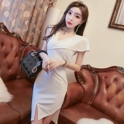 ドレス パーティードレス ミニ丈 ショート丈 ミニドレス 半袖 スリット ホワイト 白 ブラック 黒 無地 きれいめ 大人 セクシー