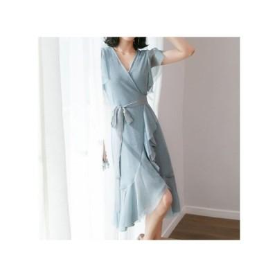 ラップドレス リボン パーティードレス マーメイドスカート ひざ丈 レディース ワンピース お呼ばれドレス kh-0621