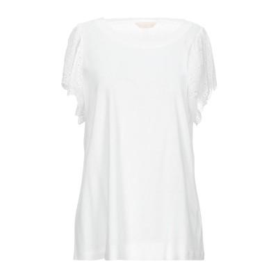 レベッカ・テイラー REBECCA TAYLOR T シャツ ホワイト L レーヨン 85% / 麻 15% T シャツ