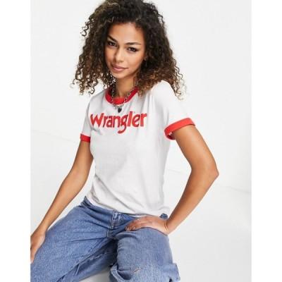 ラングラー Wrangler レディース Tシャツ トップス Short Sleeve Ringer T-Shirt In Red フレイムレッド