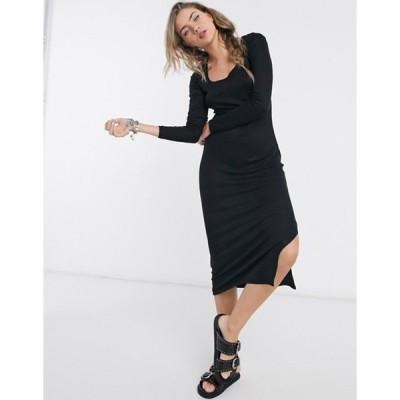 ヴィラ レディース ワンピース トップス Vila scoop neck midi dress in black