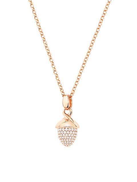 Mikado Bouquet 18K Rose Gold & Diamond Pavé Acorn Pendant
