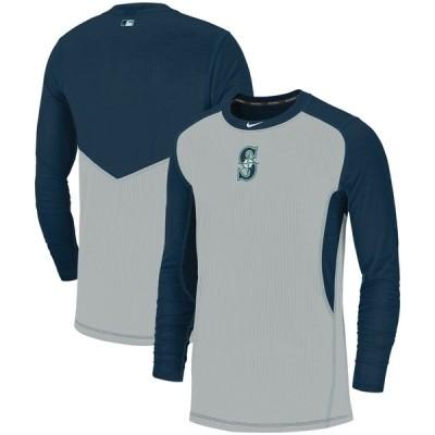 シアトル・マリナーズ Nike Authentic Collection Game Long Sleeve T-シャツ - Gray/Navy