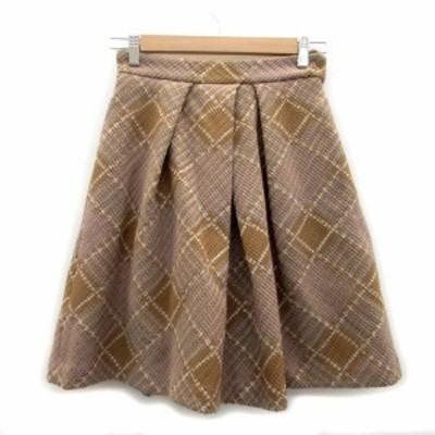 【中古】スウィングル スカート プリーツ ひざ丈 ツイード チェック柄 M マルチカラー ブラウン 茶色 レディース