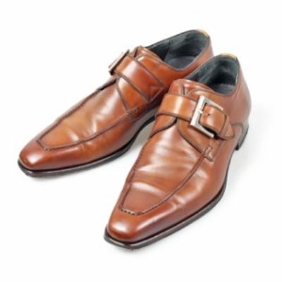 マグナーニ MAGNANNI 11983 シングルバックル Uチップシューズ EU38 ブラウン カーフ スペイン製 メンズ 靴 革靴 紳士靴 【中古】