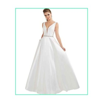 Women's A-line Deep V Neck Satin Prom Evening Dress Long Beaded Formal Wedding Gown with Pockets Size 12 Ivory並行輸入品