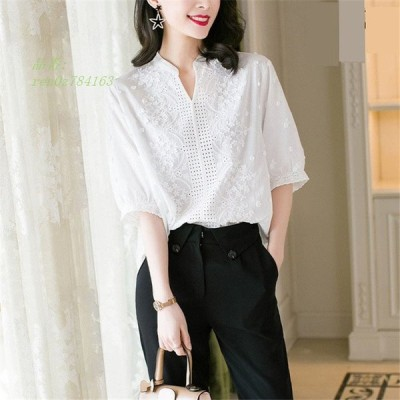 ブラウス レディース きれいめ 40代 春夏 上品 大きいサイズ 50代 Tシャツ30代 vネックトップス 五分袖ブラウスレース オシャレ 韓国風 白シャツ 大人