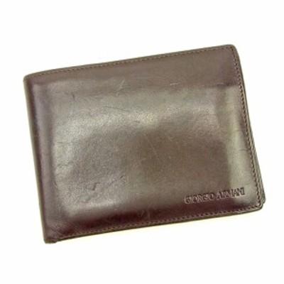 ジョルジオアルマーニ 二つ折り 財布 ロゴ ブラウン GIORGIO ARMANI 中古 L1854