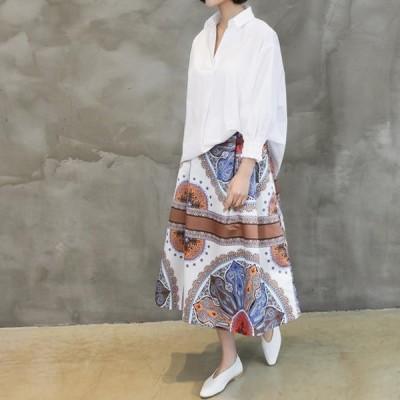 『韓国製』 ウエストゴム 花柄 スカート_大きいサイズ スカパン ウェストゴム ひざ丈 スカンツ モード 黒 ガウチョ XL