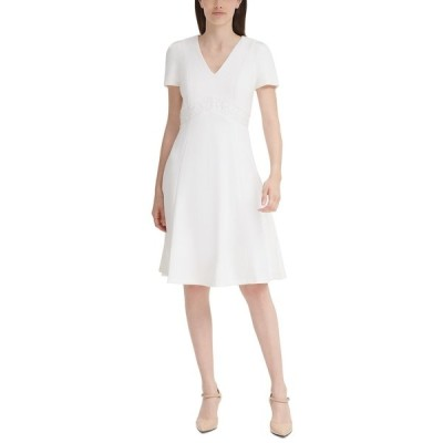 カルバンクライン ワンピース トップス レディース Lace-Trim A-Line Dress Cream