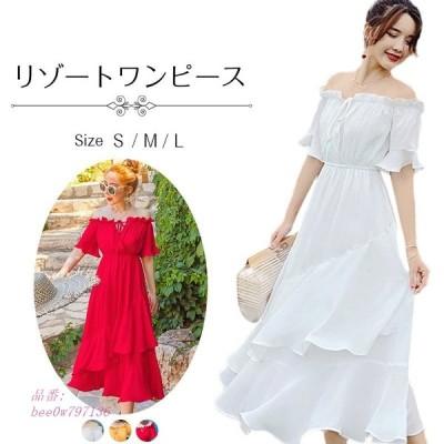 ワンピース 結婚式ドレス レディース 旅行 ビーチワンピ きれいめ 半袖ワンピース オシャレ 夏 リゾート