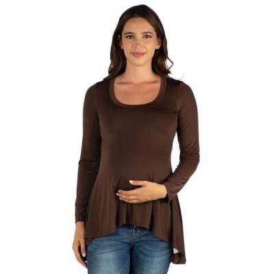 ユニセックス 衣類 トップス 24seven Comfort Apparel Simple Long Sleeve Hi Low Maternity Tunic Top マタニティ