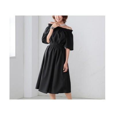 ウエストシャーリングオフショルダーワンピース (ワンピース)Dress