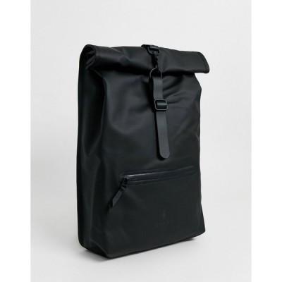レインズ バックパック リュック メンズ Rains 1316 waterproof Roll Top backpack in black エイソス ASOS ブラック 黒