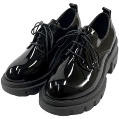 レディース レースアップシューズ 厚底 エナメル 黒 フラットソール パテント ブラック 24.5(ブラックエナメル, 24.5 cm)