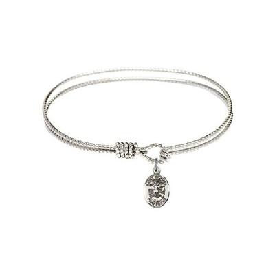 Bonyak Jewelry ブレスレット ジュエリー B4207RH-9076SS 7 1/4 inch Oval Eye Hook Bangle Bracelet w/ S