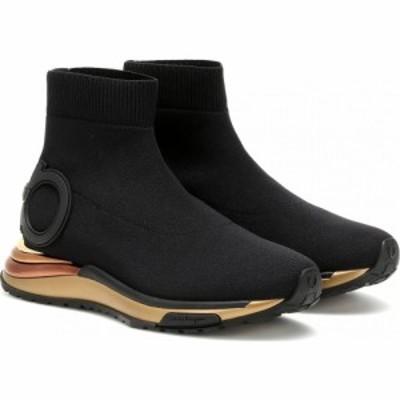 サルヴァトーレ フェラガモ Salvatore Ferragamo レディース スリッポン・フラット シューズ・靴 gardena sock sneakers Black