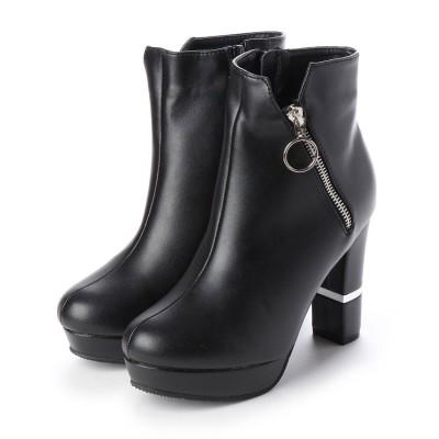 マフモフ Mafmof Mafmof(マフモフ) サイドジッパーデザインのショートブーツ (ブラック・PU)