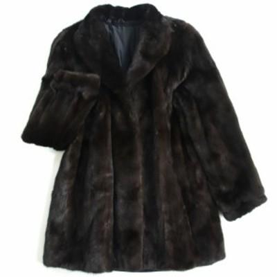 極美品▼MINK ミンク 裏地花柄刺繍入り 本毛皮コート ダークブラウン 毛質艶やか・柔らか◎