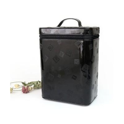 【カッズ】 メイクボックス 縦型 大容量 エナメル コスメ収納 収納ボックス 縦長 バニティバッグ レディース ブラック F KAZZU
