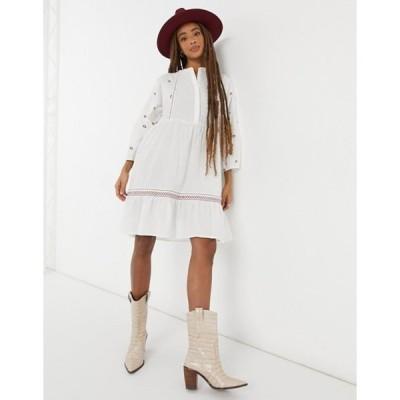 ヴェロモーダ レディース ワンピース トップス Vero Moda embroidered smock midi dress in white