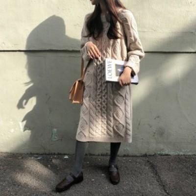 ワンピース ニット セーター ケーブル編み カジュアル オフィス 通勤 キャンパス デート 女子會 ゆったり 體型カバー 216