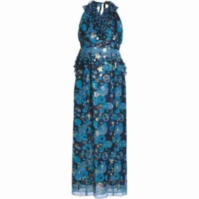 アナスイ パーティードレス Metallic printed silk-blend fil coupe halterneck gown Azure