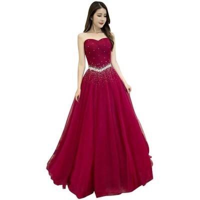 duolala レディース ベアトップ 袖なし パーティードレス イブニングドレス 結婚式 ワンピース 二次会 演奏会