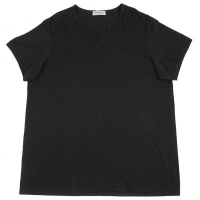 ヨウジヤマモト プールオムYohji Yamamoto POUR HOMME ネックカットオフビッグシルエットTシャツ 黒3 【メンズ】
