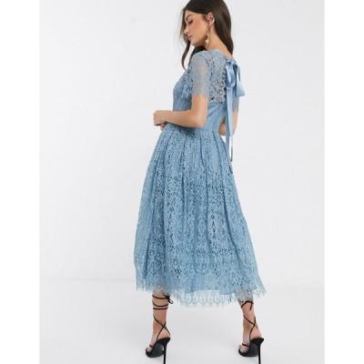 エイソス ミディドレス レディース ASOS DESIGN lace midi dress with ribbon tie and open back エイソス ASOS ブルー 青
