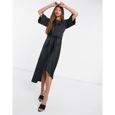 リバーアイランド レディース ワンピース トップス River Island printed asymmetric tie midi t-shirt dress in black