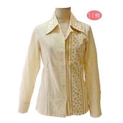 昭和レトロ 長袖ブラウス 9号 ベージュ ストライプ&水玉  エトワール海渡 レディースファッション 60年代70年代