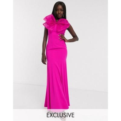 ドリーデリシャス マキシドレス レディース Dolly & Delicious exclusive bandeau fishtail maxi dress with large bow detail in hot pink エイソス ASOS