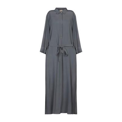 HER SHIRT ロングワンピース&ドレス グレー S レーヨン 60% / シルク 40% ロングワンピース&ドレス