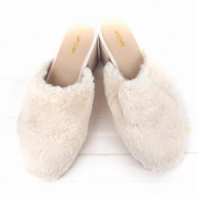 【中古】ヘザー Heather 靴 シューズ スリッパサンダル エコファー チャンキーヒール ミドル M ピンク /FT レディース