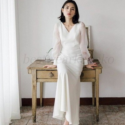 ウエディングドレスリゾートドレス花嫁二次会パーティードレス前撮り結婚式ロングドレスエレガント白大人可愛いシンプルエンパイア