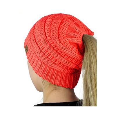 c.c beanietailソフトストレッチケーブルニットMessy高Bunポニーテールビーニー帽子 US サイズ: One Size カラー: ピン