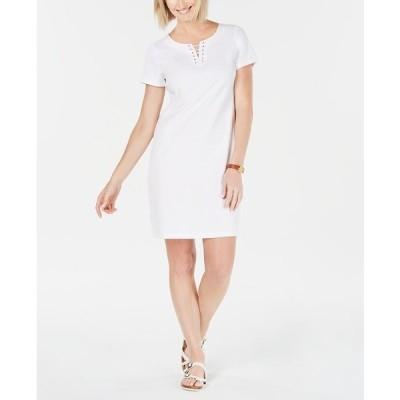ケレンスコット ワンピース トップス レディース Cotton Lace-Up Split-Neck Dress, Created for Macy's Bright White