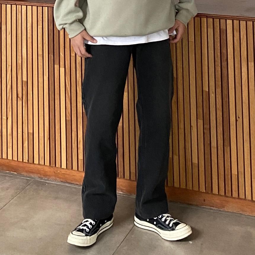 正韓素色簡約寬版落地黑色牛仔褲 (P187) YUPPIE 預購商品 0125