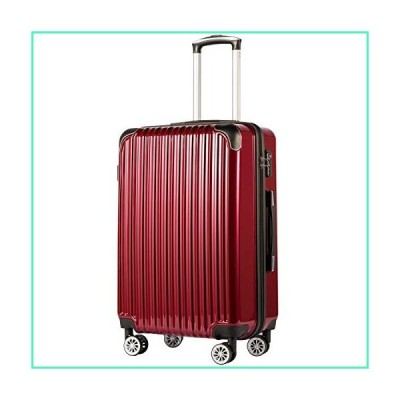 """Coolife Luggage Expandable(only 28"""") Suitcase PC+ABS Spinner 20in 24in 28in Carry on (wine wind new, S(20in)_carry on)並行輸入品"""