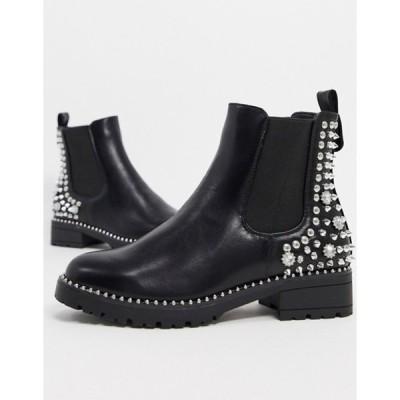 トリュフコレクション レディース ブーツ・レインブーツ シューズ Truffle Collection hardware detail chelsea boots in black