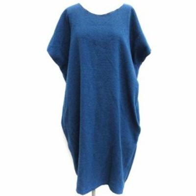 【中古】ソウソウ SOU SOU ワンピース ロング ウール混 半袖 青 ブルー /EK  レディース
