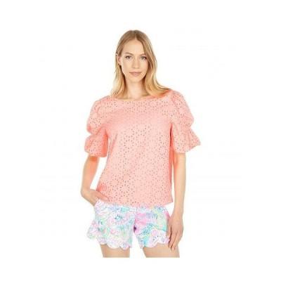 Lilly Pulitzer リリーピューリッツァー レディース 女性用 ファッション ブラウス Shaila Top - Shellona Coral Neon Sunburst Eyelet