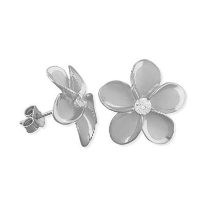 ロジウム プレート スターリング シルバー 15mm Plumeria スタッド Earrings(海外取寄せ品)