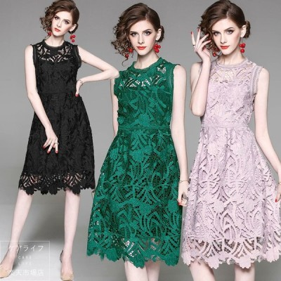 【最新作】夏ドレス大人ドレス女らしいワンピース総レースドレス♪ノースリーブドレス ショート丈ミディアム丈 結婚式パーティードレス